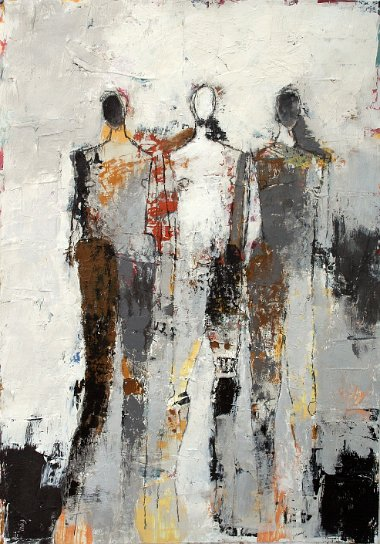 "Three Figure Study No. 15 <br>29.5"" X 21"" Mixed Media on Paper"