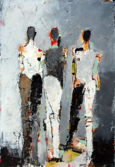"Three Figure Study No. 19 <br> 22"" X 15"" Mixed Media on Paper"