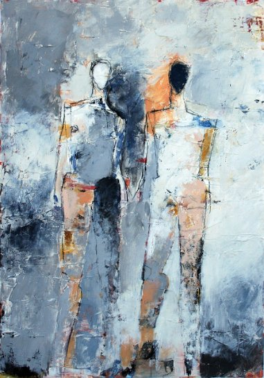 "Two Figure Study No. 15 <br> 29.5"" X 20.75"" Mixed Media on Paper"