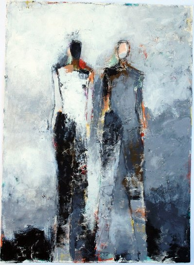 "Two Figure Study No. 24 <br> 30"" X 22"" Mixed Media on Paper"