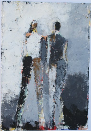 "Two Figure Study No. 23 <br> 22"" X 15"" Mixed Media on Paper"