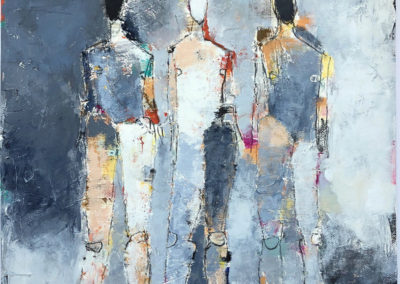 "Three Figure Study No. 30<br>  30"" X 22"" Mixed Media on Paper"