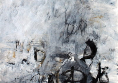 "Black and White No. 6<br> 44"" X 30"", Mixed Media on Paper"