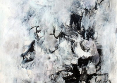 "Black and White No. 7<br> 44"" X 30"", Mixed Media on Paper"