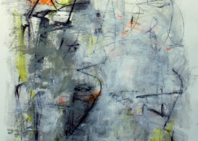 "Composition with Yellow and Orange I<br> 38"" X 28"", Mixed Media on Paper"