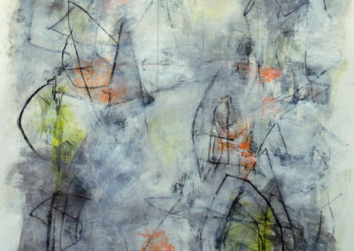 "Composition with Yellow and Orange II<br> 38"" X 28"", Mixed Media on Paper"