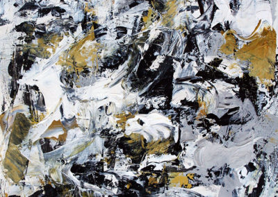 """Composition with  Black and Ochre No. 4<br> 15"""" X 11"""" Mixed Media on Paper"""