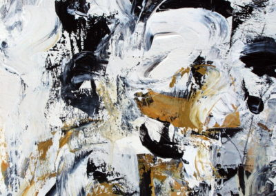"""Composition with Black and Ochre No. 5<br> 15"""" X 11"""" Mixed Media on Paper"""
