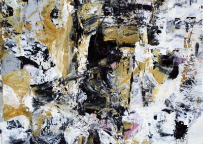 """Composition with Black and Ochre No. 7<br> 15"""" X 11"""" Mixed Media on Paper"""