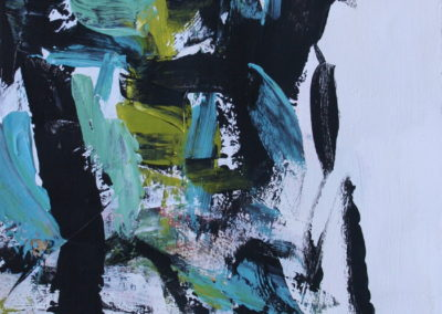 """Composition with Black and Teal No. 2<br> 12.25"""" X 9.5"""" Acrylic on Canvas"""
