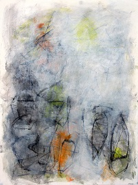 "Composition with Yellow and Orange IV<br> 30"" X 22"" Mixed Media on  Paper"