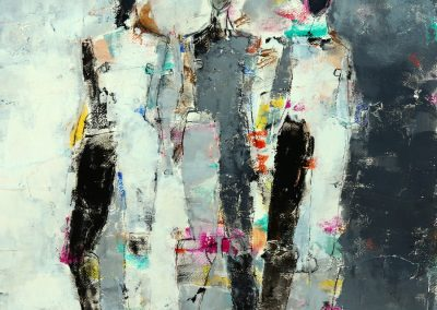 "Three Figure Study No. 32<br> 30"" X 22"" Mixed Media on Paper"