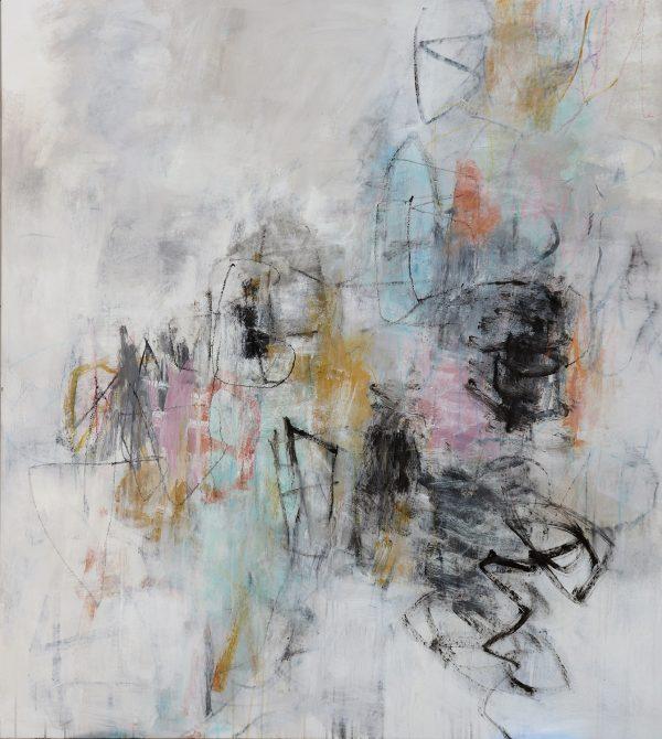 Julie Schumer Change of Plan, 59 X 53, mixed media on canvas