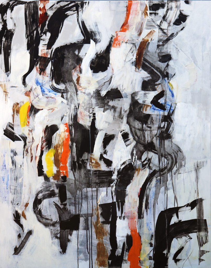 Julie Schumer Embrace, 58 X 46, mixed media canvas