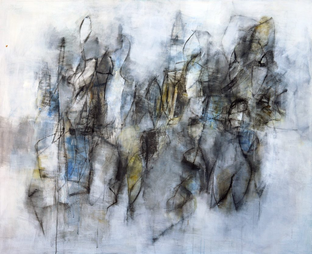 Julie Schumer Emergence of Blue II, 54 X 64, mixed media canvas